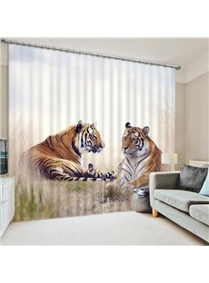 Unique Resting Tigers Wild Animal Printing 3D Curtain
