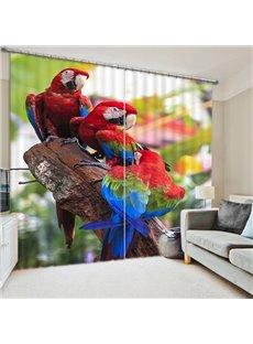 High-Quality Couple Colored Parrots Print 3D Blackout Curtain