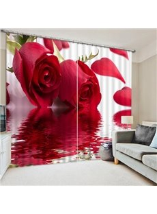 Two Beautiful Red Roses  Print 3D Blackout Curtain