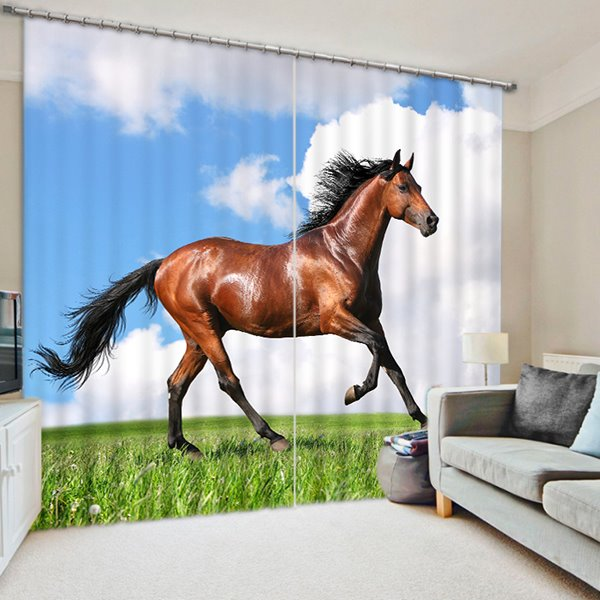 3D Wild Brown Horse Running Printed Animal Scenery Blackout and Decorative Curtain