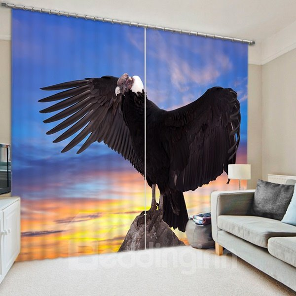 3D Black Eagle Spreading Wings Printed Vivid and Creative Decorative and Blackout Curtain