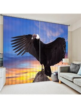 Black Eagle Spreading Wings Print 3D Blackout Curtain