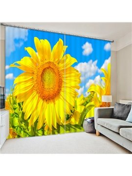 Vivid Golden Sunflower Print 3D Blackout Curtain