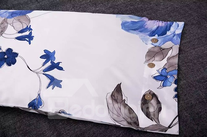 Rustic Style Blue Flower Print Cotton 4-Piece Duvet Cover Sets