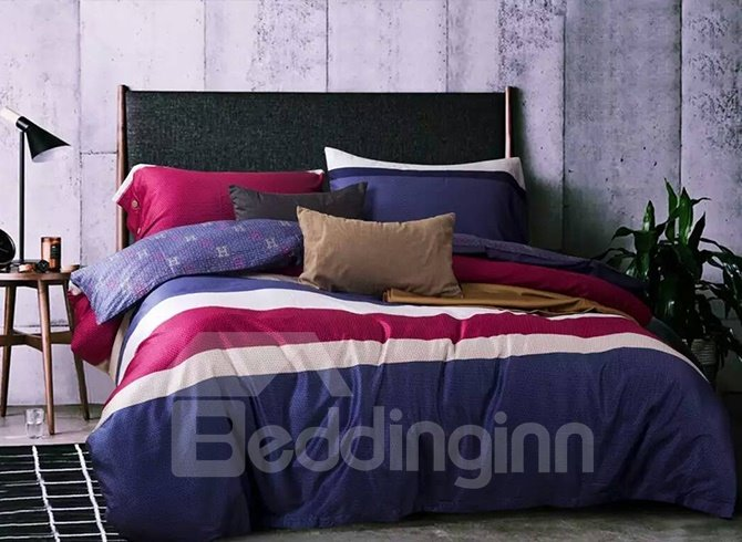 Top Grade Colorful Stripes Cotton 4-Piece Duvet Cover Sets
