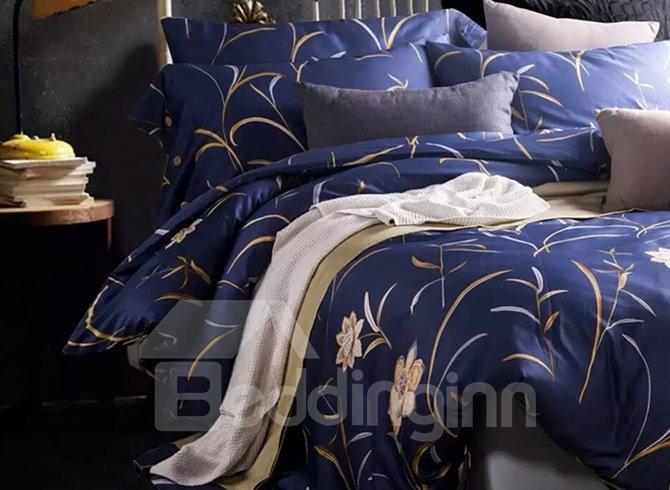 High Quality Elegant Flower Purple 100% Cotton 4-Piece Duvet Cover Sets
