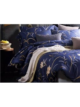 High Quality Elegant Flower Purple 100% Cotton 4-Piece Duvet Cover Sets