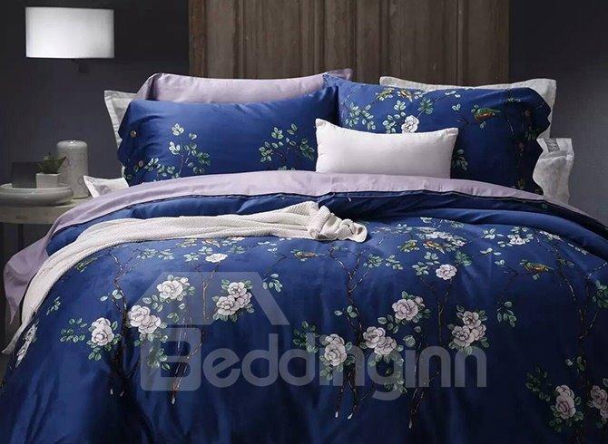 Rustic Style White Flowers Print Blue Cotton 4-Piece Duvet Cover Sets