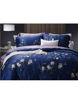 Rustic Style White Flowers Print Blue Cotton 4-Piece Duvet Cover Sets