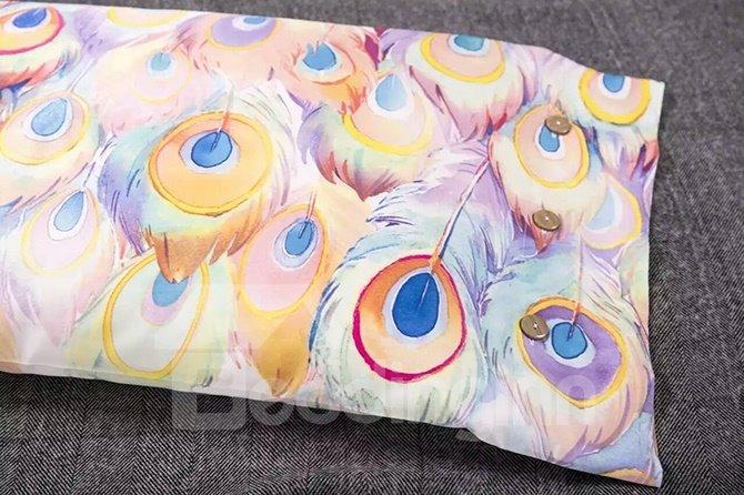 Luxury Peacock Feather Design Cotton 4-Piece Duvet Cover Sets