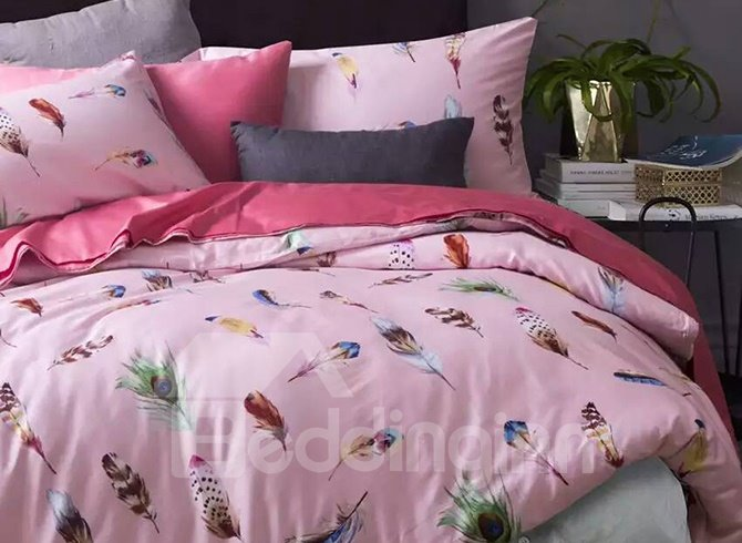 Elegant Feather Print Pink Cotton 4-Piece Duvet Cover Sets