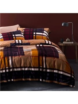 Popular Concise Brown Plaid Cotton 4-Piece Duvet Cover Sets