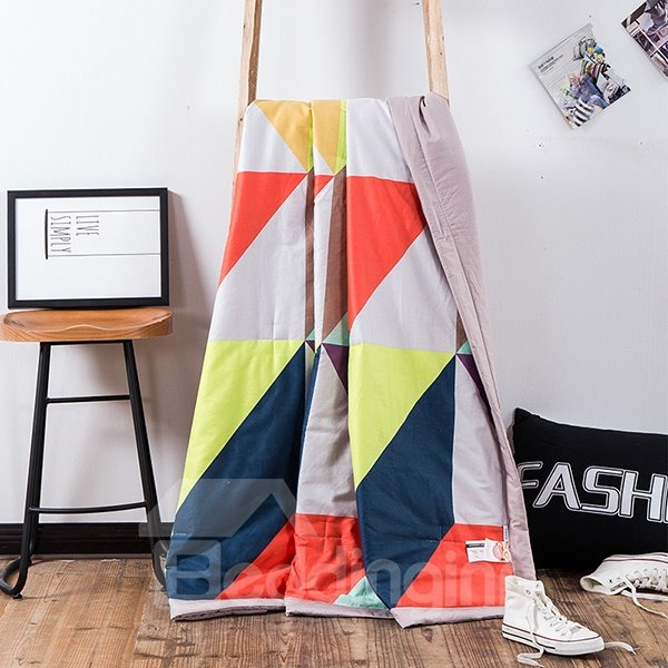 Concise Stripe Print Colorful Cotton Summer Quilts