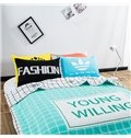 Fresh Style Unique Letters Green Cotton Summer Quilts