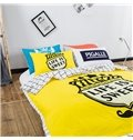 Unique Life Is Sweet Letters Yellow Cotton Summer Quilts