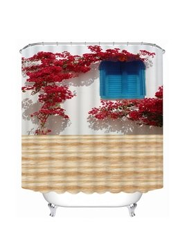 Attractive Red Flowers and Blue Windows Print 3D Shower Curtain