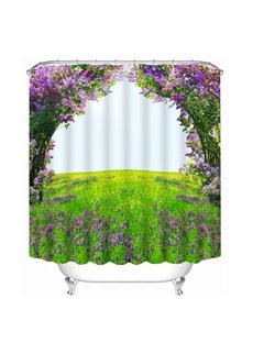 High Quality Green Tree Purple Flower Print 3D Shower Curtain