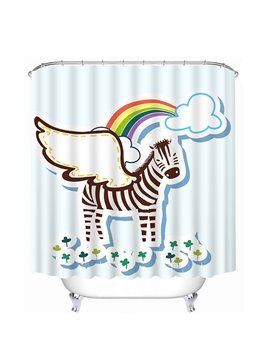 Cute Cartoon Zebra with White Wings Print 3D Shower Curtain