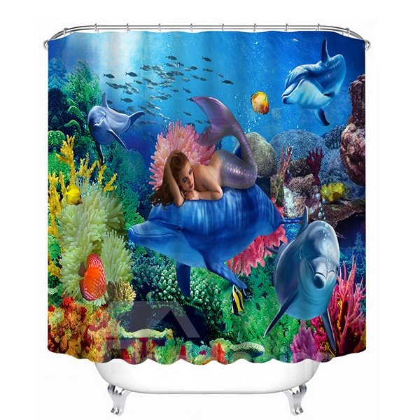 Mysterious Mermaid With Submarin World Print 3D Shower Curtain