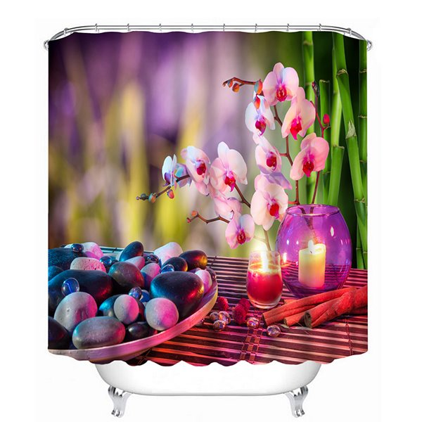 Romantic Pebbles and Flowers in the Candlelight Print 3D Shower Curtain