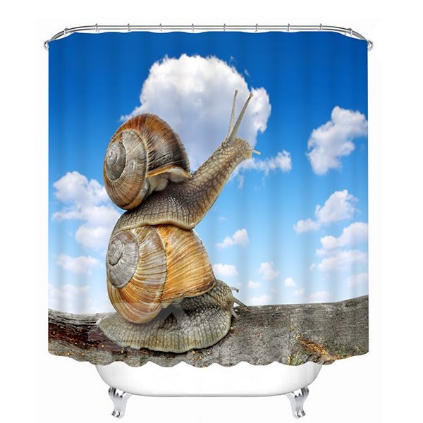 Cute Two Snail Stack 3D Printing Bathroom Shower Curtain
