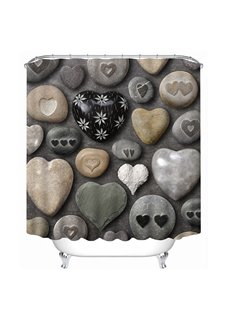 Lovely Cobblestone in Heart-Shaped 3D Printing Bathroom Shower Curtain