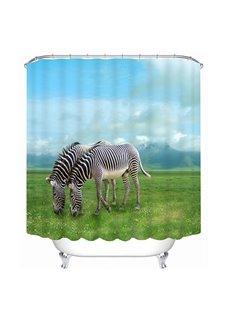 Couple Zebra Graze on the Prairie 3D Printing Bathroom Shower Curtain