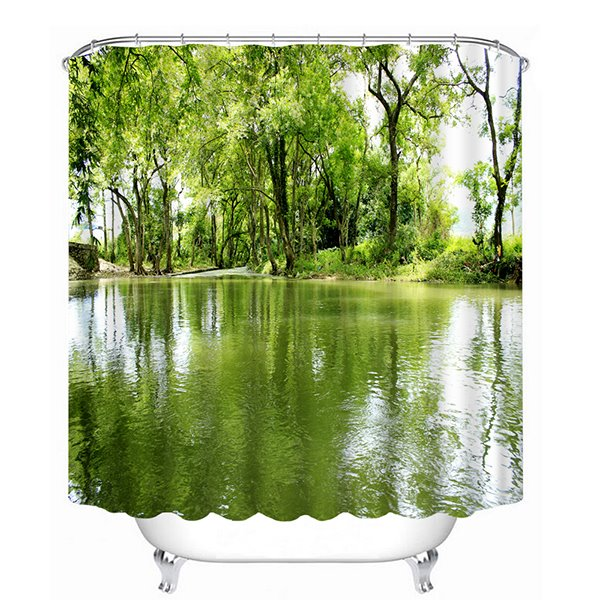 Country Style Grove Waterside 3D Printing Bathroom Shower Curtain