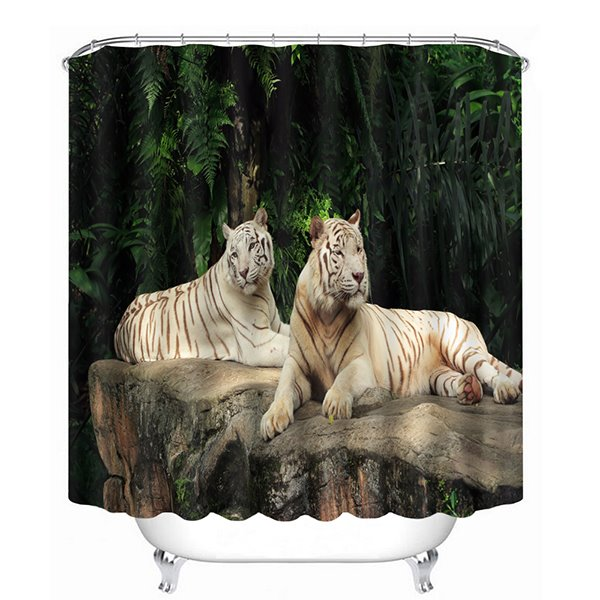 Two Lions Lying Down on the Stone Print 3D Bathroom Shower Curtain