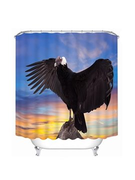 Black Eagle Spreading Wings Print 3D Bathroom Shower Curtain