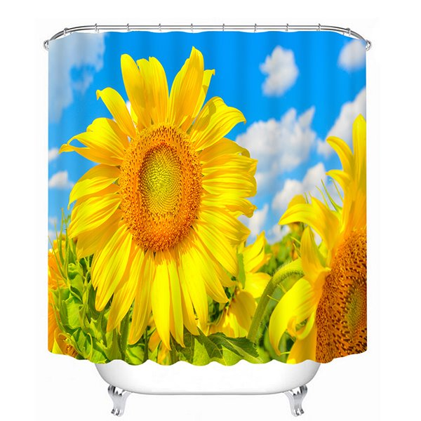 Golden Blooming Sunflower Print 3D Bathroom Shower Curtain