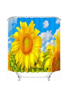 Golden Blooming Sunflower Print 3D Bathroom Shower Curtain