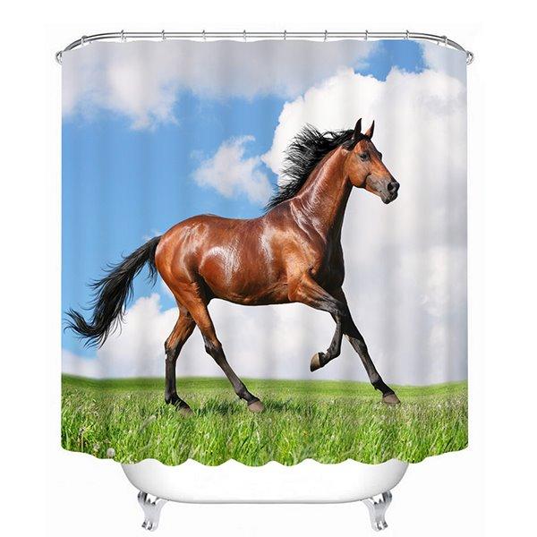 3D Running Horse Printed Polyester Bathroom Shower Curtain