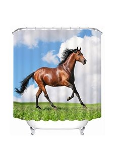 Brown Horse Running Print 3D Bathroom Shower Curtain