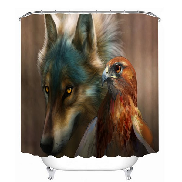 Realistic Wolf and Eagle Print 3D Bathroom Shower Curtain