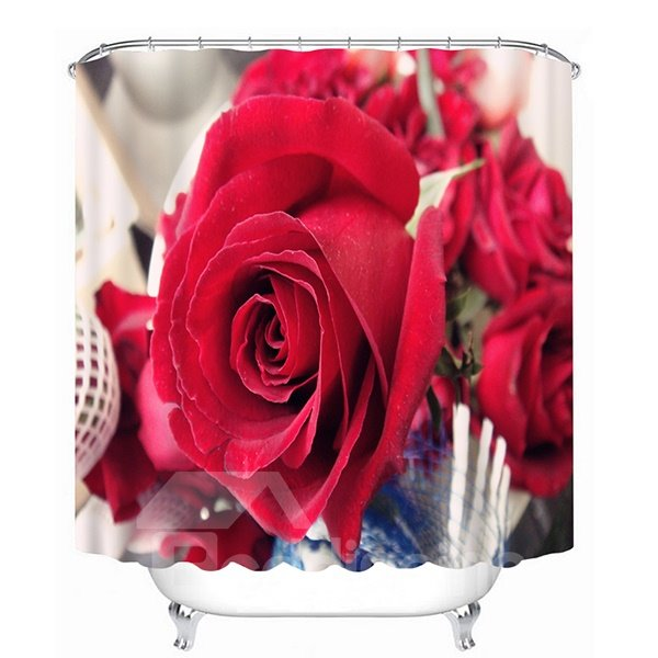 Full-Bloomed Red Rose Print 3D Bathroom Shower Curtain