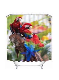 High-Quality Couple Colored Parrots Print 3D Bathroom Shower Curtain