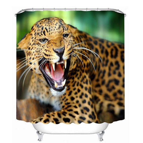 Leopard Howling Print 3D Bathroom Shower Curtain