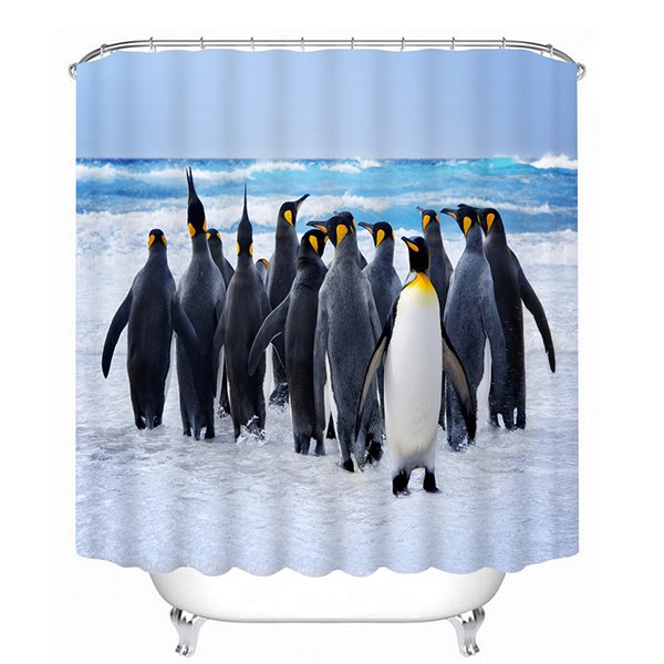 A Group of Cute Penguin Walking Print 3D Bathroom Shower Curtain