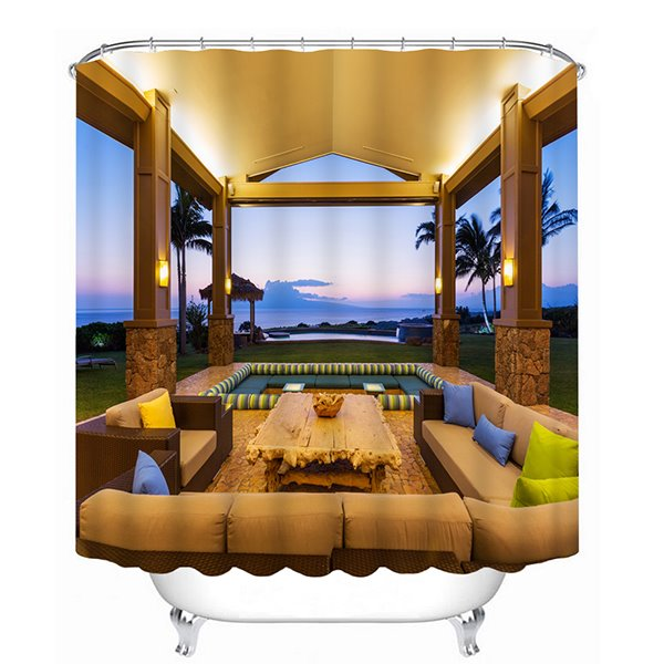 Luxurious Open-air Pavilion Print 3D Bathroom Shower Curtain