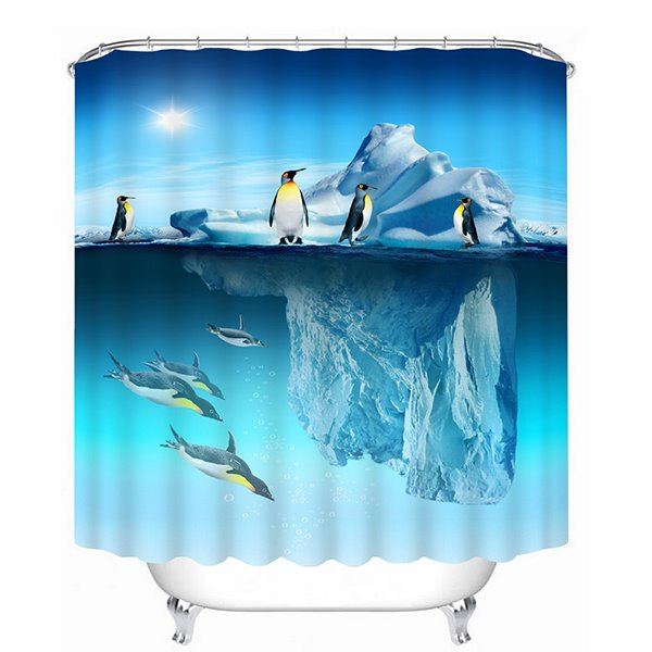 Amazing Iceberg and Penguins in South Pole Print 3D Bathroom Shower Curtain