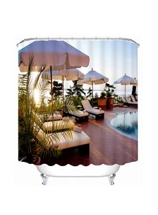 Casual Afternoon Time in the Swimming Pool Print 3D Bathroom Shower Curtain