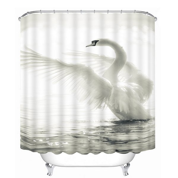 The spreading White Swan Print 3D Bathroom Shower Curtain