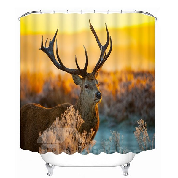 Lovely Milu Deer in the Sunset Print 3D Bathroom Shower Curtain