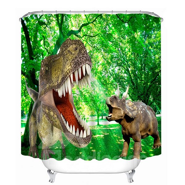 High-Quality Fiercely Dinosaurs Print 3D Bathroom Shower Curtain