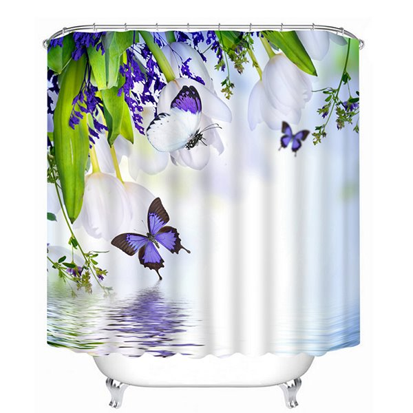 White Flowers and Purple Butterfies Over the Water Print 3D Bathroom Shower Curtain