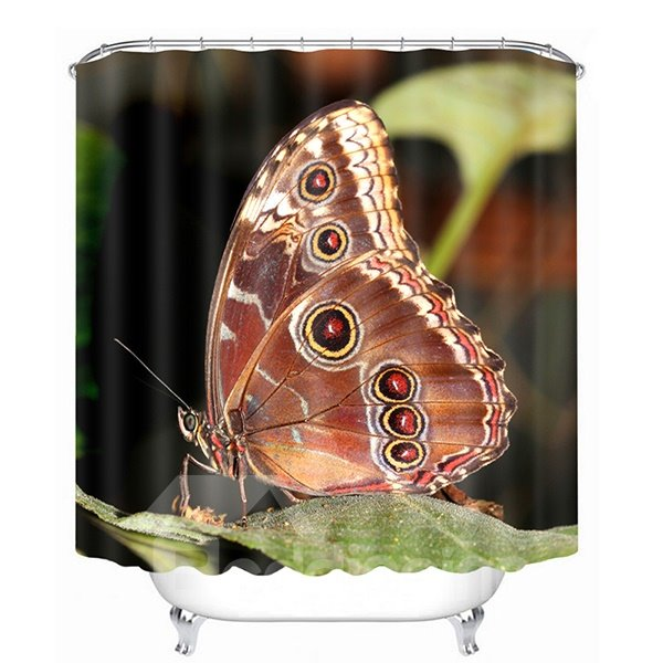 Lively Butterfly Parking on the Leaf Print 3D Bathroom Shower Curtain