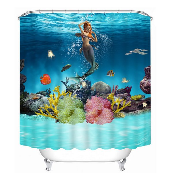 3D Swimming Mermaid and Fishes Printed Bathroom Shower Curtain