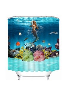 Beautiful Mermaid Swimming Print 3D Shower Curtain