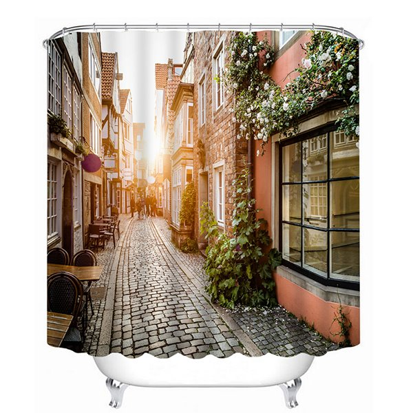 Vintage Street Dawn Sunshine Print 3D Bathroom Shower Curtain